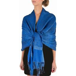Sakkas 70 Inch X 28 Inch Paisley Self-Design Pashmina Shawl / Wrap / Stole - Blue - One Size, Women's