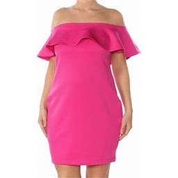 Guess Womens Pink Ruffled Short Sleeve Off Shoulder Above The Knee Body Con Formal Dress Size XS, Women's