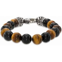 Zales Men's Tiger's Eye And Onyx Bead Stainless Steel Stretch Bracelet - 8.5""