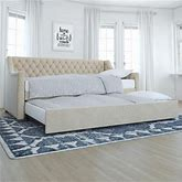 Little Seeds Monarch Hill Ambrosia Upholstered Daybed And Trundle, Ivory Velvet, Twin, Beige