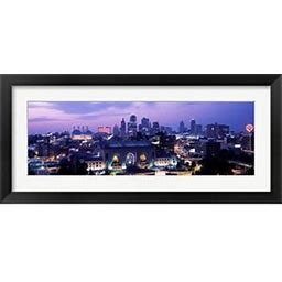 Framed Union Station At Sunset With City Skyline In Background, Kansas City, Missouri Art Print By Panoramic Images - Framedart.Com