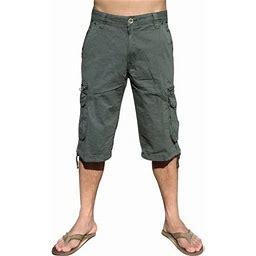 Stone Touch Jeans Mens Military Cargo Pocket Shorts, Dark Grey, 91s-42, Men's, Gray