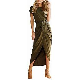 Fresh Look Women's Casual Short Sleeve Slit Solid Party Summer Long Maxi Dress, Size: XL, Green