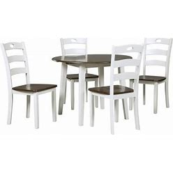 Woodanville Collection 5-Piece Dining Room Set With Dining Table And 4 Side Chairs In White And