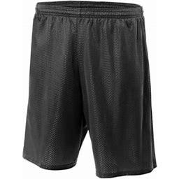 A4 Men's Lined Tricot Mesh Short, Adult Unisex, Size: XL, Black