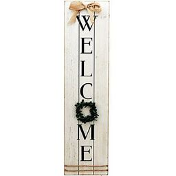 Vertical Wooden Welcome Sign Plaque With Wreath Wall Hanging Decor|Large Farmhouse Decor For Entryway,Front Door, Size: 7.87Wx1.57Dx31.5H