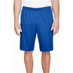 A4 Men's 9 Inch Inseam Pocketed Performance Shorts - N5338, Size: Large, Blue