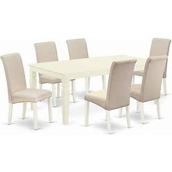 East West Furniture Logan 7-Piece Wood Dinette Set In Linen White/Cream - LGBA7-LWH-01