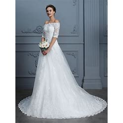 2021 Ball Gown Off-The-Shoulder Beading Court Train Lace Wedding Dresses