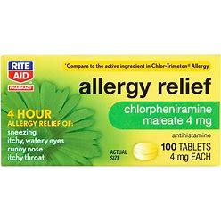Rite Aid Allergy Medicine, Chlorpheniramine Maleate, 4Mg - 100 Ct
