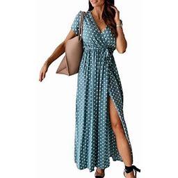 Meihuida Bohemian Style Polka Dot Printed Dress Young Girls Irregular Split Dress Summer Casual Clothes, Women's, Size: Large, Pink