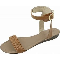 Star Bay New Women's Fashion Casual Braided Buckles Strap Open Toe Flat Sandal Cajun Spice, Size: 7, Bronze