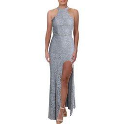 City Studio Womens Juniors Lace Beaded Formal Dress, Women's, Size: 13, Silver