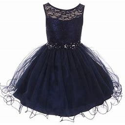 Blunight Collection Big Girl Sleeveless Floral Lace Tulle Knee Length Pageant Flower Girl Dress Flower Girl Dress (m3b7k5) Navy 18, Girl's, Blue