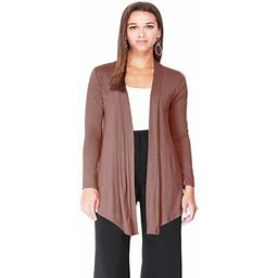 Moa Collection Women's Solid Basic Open Draped Front Long Sleeve Relaxed Cardigan Sweater / Made In USA, Size: 3XL, Brown