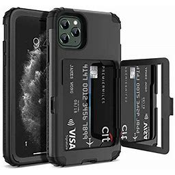 iPhone 11 Pro Max Wallet Case, Welovecase Defender Wallet Card Holder Cover With Hidden Mirror Three Layer Shockproof Heavy Duty Protection All-Round