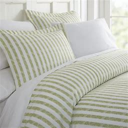 Simply Soft 3 Piece Puffed Rugged Stripes Duvet Cover Set, Size: Twin, Beige