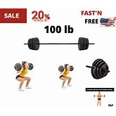 Barbell Set With 100 LB Plates For Home Fitness Workout Weight Lifting Training