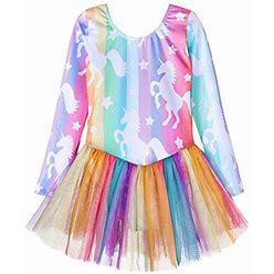 Unicorn Leotards Dress For Girls 3T 4T Ballet Tutu Skirt Dance Dress Dance Costume (Baby Girls/Toddler Girls/Big Girls) (S Long Sleeves Unicorn Stripe