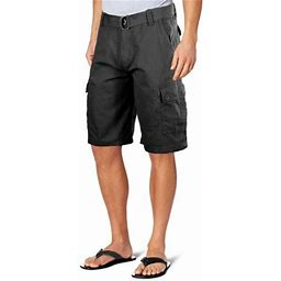 Ma Croix Men's Premium Multi Cargo Twill Cargo Shorts With Belt, Size: 30, Black