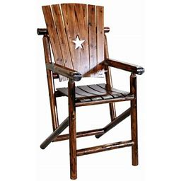 Leigh Country Char-log Outdoor Bar Height Arm Chair W/Star Brown, Size: Twin