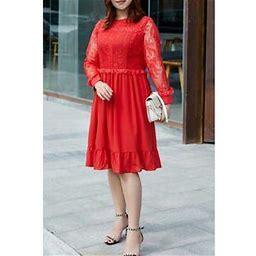 Unomatch Women Plus High Neck Ruffled Hem Dress, Women's, Size: XS, Red