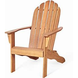 Giantex Outdoor Adirondack Chair Patio Solid Acacia Wood Natural, Size: 21.8, Beige