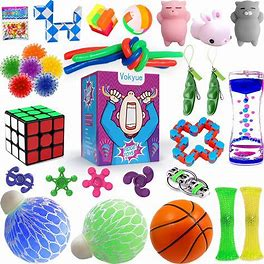 Fidget Toys Set, Sensory Toys Pack For Stress Relief And Anti-Anxiety (25 Pack), Motion Timer/Marble And Mesh/Pack Of Squeeze Balls/Grape Ball/Slime