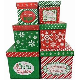 6 Christmas Gift Boxes W/ Lids Nesting Tiered Cubes For Display Or Presents