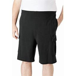 Kingsize Men's Big & Tall Lightweight Jersey Cargo Shorts, Size: Tall - 5XL, Black