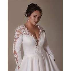A-Line Gown Dress With Sleeves And Long Train, Lace Wedding Dress, Individual Custom, Elegant Satin Wedding Gown, Plus Size Wedding Dress