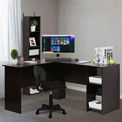 Furinno Indo Espresso L Shaped Desk With Bookshelves