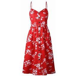 Vista Women Summer Casual Dress Beach Maxi Dress Boho Floral Sundress Dress, Women's, Size: 3XL, Red Red
