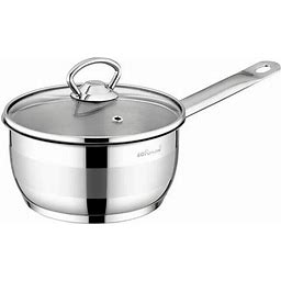 Safinox 18/10 Stainless Steel Tri-Ply Thermo Capsulated Bottom 1.5-Quart Sauce Pan With Glass Lid, Induction Ready, Dishwasher Safe, Silver