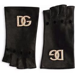 Dolce & Gabbana - Fingerless Leather Gloves - Women - Lamb Skin - 7 - Black