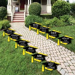 Yellow Grad - Best Is Yet To Come - Grad Cap Lawn Decorations - Outdoor Graduation Party Yard Decorations - 10 Pieces, Adult Unisex, Size: One Size,