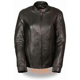 Milwaukee Womens Racer Style Jacket W/Side Buckles Black, Women's, Size: 4XL (4XL)(4XL)