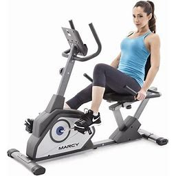 Marcy Magnetic Recumbent Exercise Bike With 8 Resistance Levels- Grey