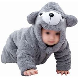 Newborn Baby Boy Girl Winter Jumpsuit Outfit Hooded Onesie Thick Bodysuit Romper Zipper Coat Cartoon Bear Coat, Infant Unisex, Size: 120Cm, Gray