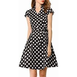 Allegra K Women's Vintage 1950S Retro Cap Sleeve Polka Dot A-Line Dress, Size: XS, Black