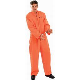 Fun Shack Mens Prisoner Costume Adults Criminal Inmate Orange Convict Boiler Suit