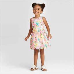 Toddler Girls' Floral Scallop Hem Dress - Cat & Jack Pink 12M, Toddler Girl's