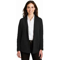 Port Authority Women's Interlock Cardigan. L807, Adult Unisex, Size: 2XL, Black