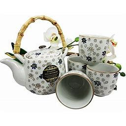 Atlantic Collectibles Japanese Cherry Blossom 20Oz Ceramic Tea Pot And Cups Set Serves 4 People (White Blue Sakura)