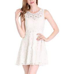 Allegra K Women's Sleeveless Semi Sheer Yoke Floral Lace Mini Flare Dress, Size: 12, Beige