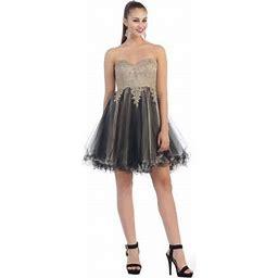 May Queen Cute Short TWO Toned Dress, Women's, Size: 8, Black