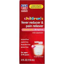 Rite Aid Children's Fever Reducer & Pain Reliever, Bubble Gum, 160Mg - 4 Fl Oz