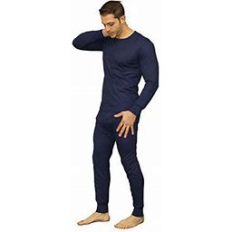 Moet Fashion Men's Soft 100% Cotton Thermal Underwear Long Johns Sets - Waffle - Fleece Lined (2X-Large, Fleece Lined - Navy), Size: XL, Blue