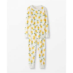 Kids Long John Pajamas In Organic Cotton Pajamas - Size 12 - Lemonade In White - Christmas