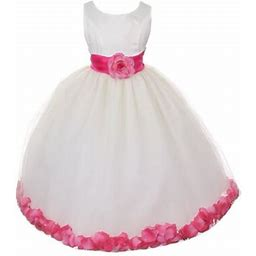 Girls Ivory Fuchsia Floral Petals Organza Sash Junior Bridesmaid Dress 8-14, Girl's, Size: 7, Beige